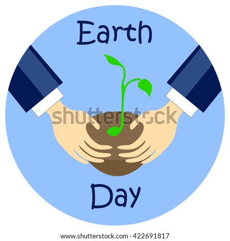 Earth day flat style vector illustration, earth day picture, earth day print, earth day sticker, earth day hands, earth day planting tree, earth day care hands, earth day action, earth day banner icon - stock vector
