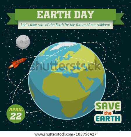 Earth day holiday poster in flat design on space background - stock vector