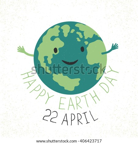 Earth Day Illustration. Earth smiling and reveals a hug. Grunge layers easily edited. - stock vector
