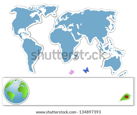 Earth Day. Sticker map with banners, globe and insects. 10 eps. Vector illustration. - stock vector