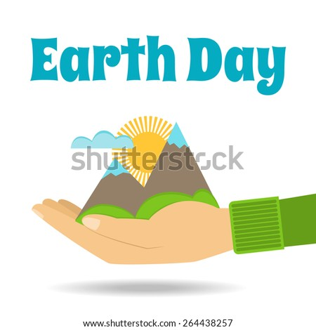 Earth Day vector Concept. Nature in human hands. Flat design.  - stock vector