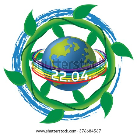 Earth Day vector illustration - 22nd of April, with ocean wave and plant (vegetation) swirls, and peace rainbow. - stock vector