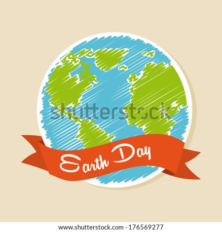 earth design over pink background vector illustration - stock vector