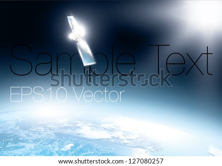 earth from space with telecommunication satellite.  Realistic vector background. - stock vector
