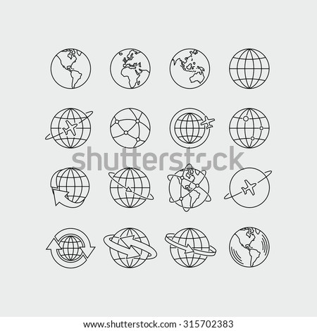Earth Global Communication Vector Icons Set  - stock vector