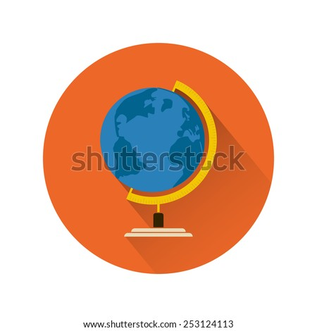 Earth globe flat design icon with long shadow - stock vector