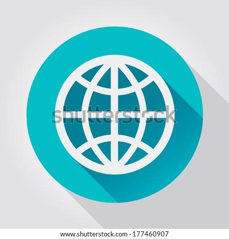 Earth Globe icon, flat design - stock vector