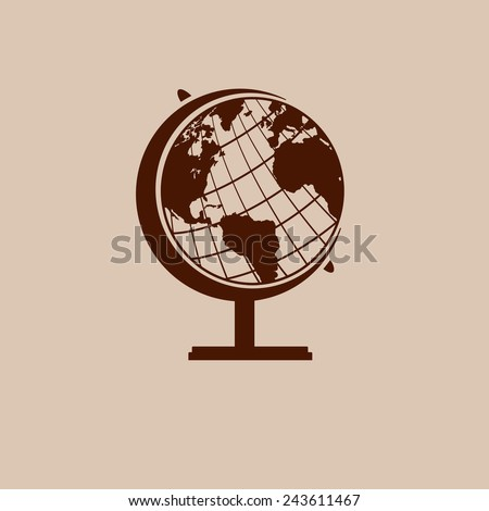 Earth globe icon in vintage style poster, vector illustration - stock vector