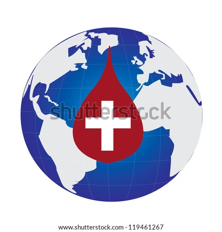 Earth globe in a blood drop - stock vector