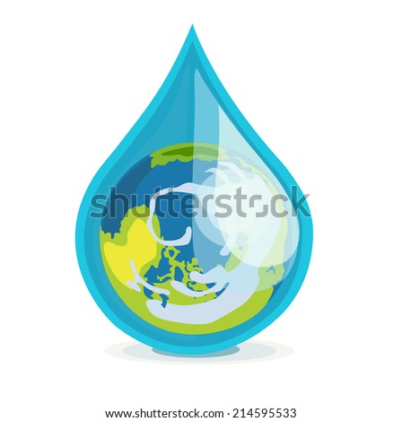 earth globe in drop of water flat design on white - stock vector