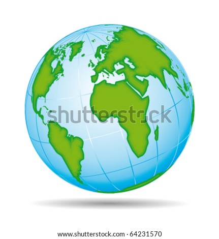 Earth globe planet icon. European and american view. Vector illustration. - stock vector