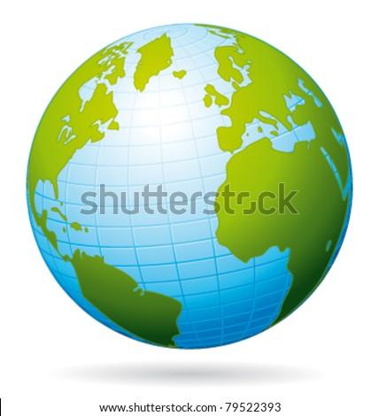 Earth globe vector icon. Atlantic view. - stock vector