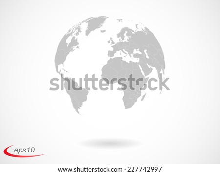 Earth globe with countries borders - stock vector