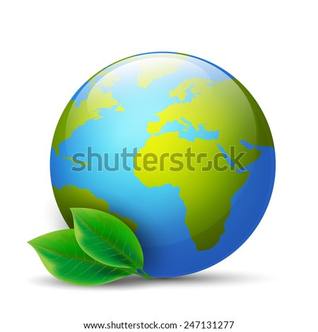 Earth globe with green leaves - stock vector