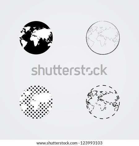 Earth globes - stock vector
