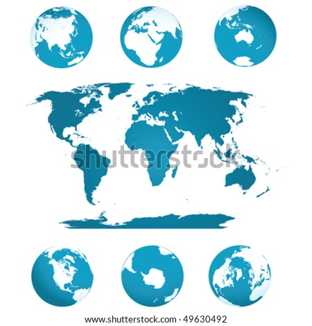 Earth globes and world map in blue tones over white background - stock vector