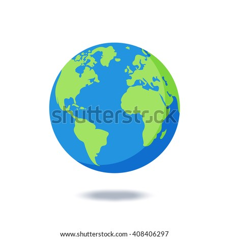 Earth globes isolated on white background. Flat planet Earth icon. Vector illustration. - stock vector