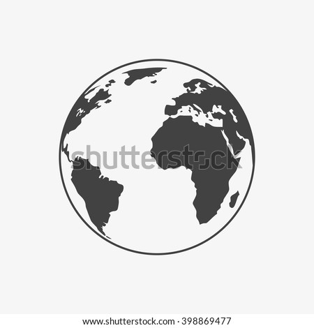 Earth Icon in trendy flat style isolated on grey background. World globe symbol for your web site design, logo, app, UI. Vector illustration, EPS10. - stock vector