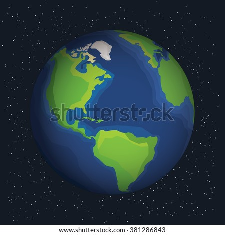 Earth in outer space. Earth on the space background with stars. Cosmic background with Earth. Earth with shadow. Planet in universe, stock vector. - stock vector