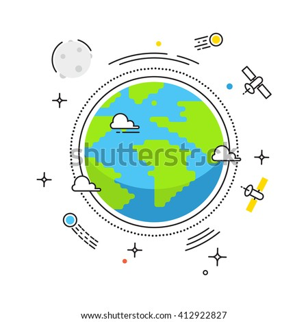 Earth lines flat design. Planet in space with lines space satellites, comets, Moon icons. Illustration for banners, catalogs, infographics. Earth icon isolated on white background  - stock vector - stock vector