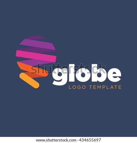Earth logo template - stock vector