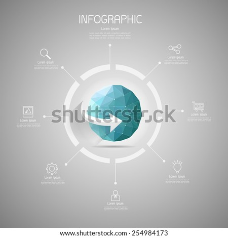 Earth low poly style, vector abstract infographic elements with icons set - stock vector