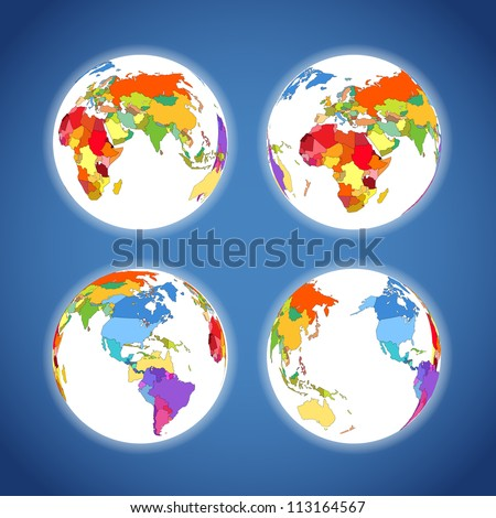 Earth map colorful scheme collection - stock vector