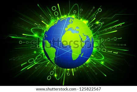 Earth on Binary Background - stock vector