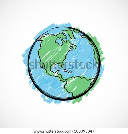 Earth painted with brush on gradient background. - stock vector