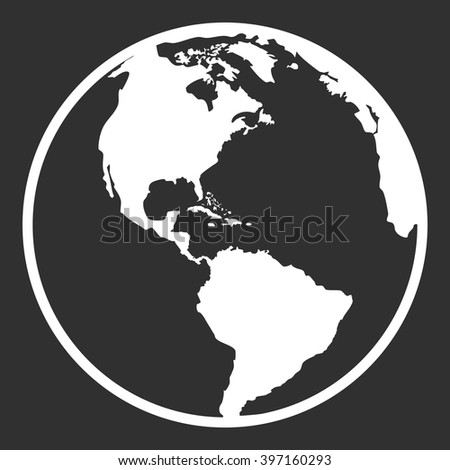 Earth planet globe web and mobile icon in flat design. Contour white symbol of earth planet in america view. Isolated on black background. Vector illustration. - stock vector