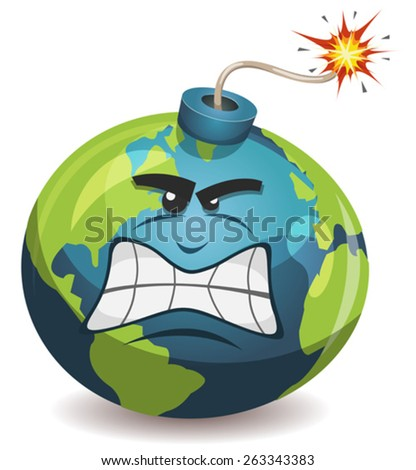 Earth Planet Warning Bomb Character/ Illustration of a cartoon earth planet bomb character, angry and furious, about to explode with burning wick, isolated on white - stock vector