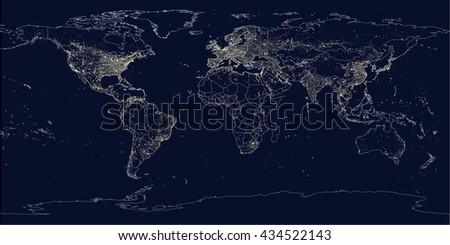 Earth's city lights political map - stock vector