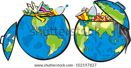 earth`s dumpster - stock vector