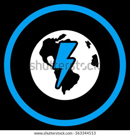 Earth Shock vector icon. Style is bicolor flat circled symbol, blue and white colors, rounded angles, black background. - stock vector