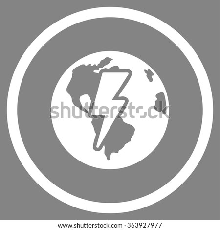 Earth Shock vector icon. Style is flat circled symbol, white color, rounded angles, gray background. - stock vector