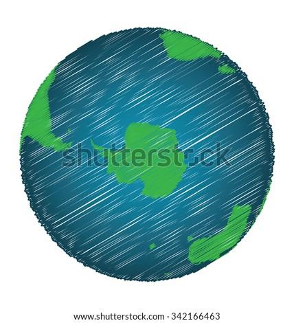 Earth Sketch Hand Draw Focus Antarctica Continent, Credit World Map of Nasa - stock vector