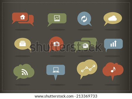 Earth tone speech bubble icons vector with icons - stock vector