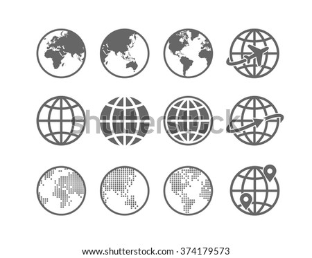 Earth Vector globe Icon set. Collection of 12 simple Earth globe / world map icons - stock vector