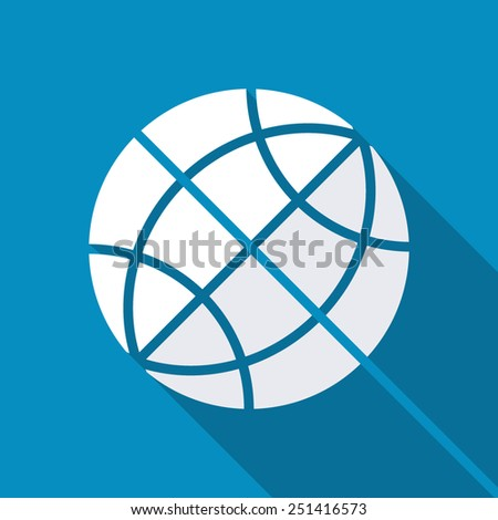 Earth vector icon. Globe icon background. Modern design flat style icon with long shadow effect - stock vector