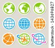 Earth vector icons set. Credit : NASA - stock vector