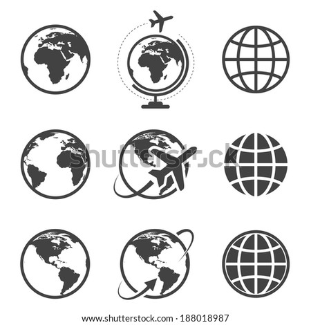 Earth vector icons set on white background - stock vector