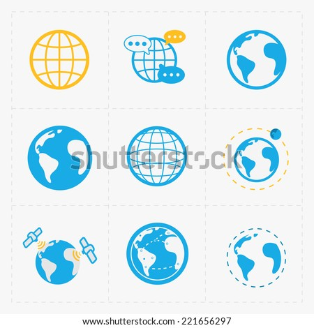 Earth vector icons set on white background. - stock vector