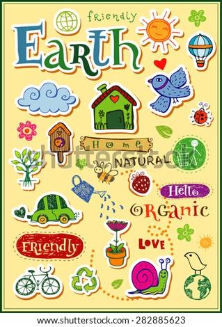 Earth vector set - doodles and inscriptions - stock vector