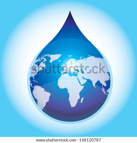Earth water drop on water saving concept. - eps10 vector - stock vector