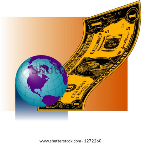 Earth with Dollar Bill - stock vector