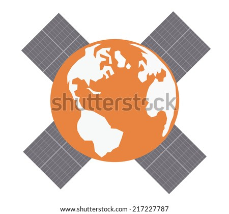 Earth with solar panels.Vector illustration - stock vector