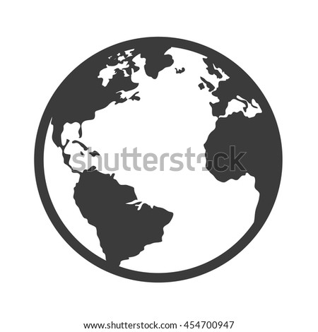 Earth world planet, isolated flat icon design - stock vector