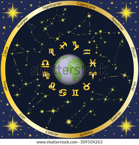 Earth, zodiac signs and zodiac constellations. Astrology. Horoscope. - stock vector