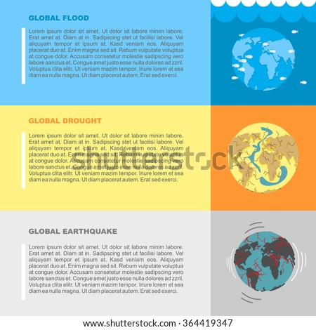 Earthquake, flood and drought. Natural disasters on planet Earth. World in peril. Destruction and demolition of  Earth. Apocalypse in world.