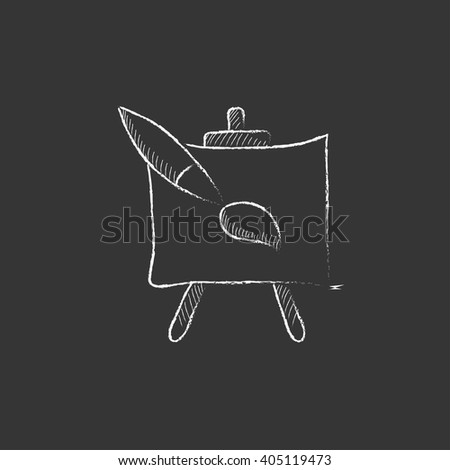 Easel and paint brush. Drawn in chalk icon. - stock vector
